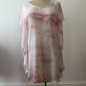 Pink and White Geode Beach Coverup (S)